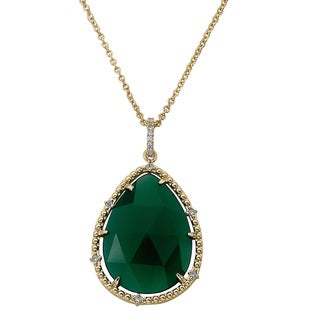 Radiance Bijoux by Riccova 14K Gold-Plated Green Agate Teardrop Gemstone Pendant Chain Necklace