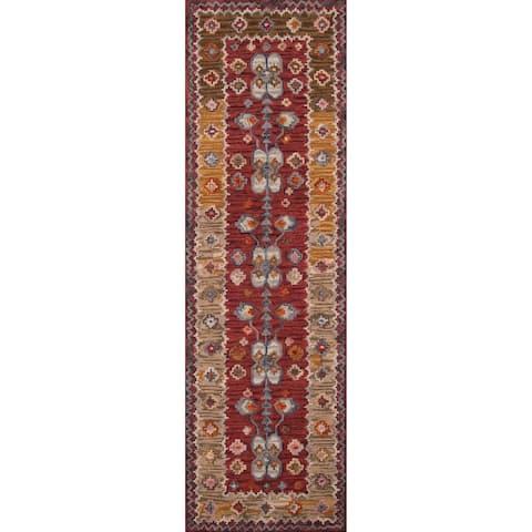 """Momeni Tangier Red Hand-Tufted Wool Runner Rug - 2'3"""" x 8' Runner"""