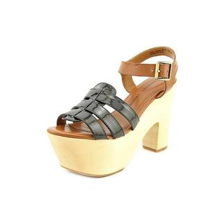 Chinese Laundry Women's Melt Down Black Leather and Beige Platform Sandals