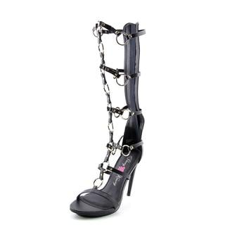 Penny Loves Kenny Women's 'Merino' Black Faux-leather Gladiator High-heel Sandals