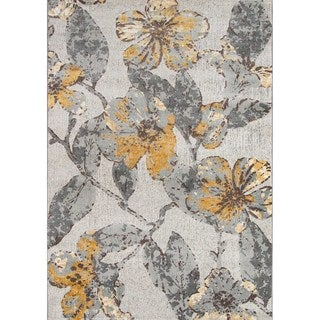 Machine Made Delphinium Grey Polypropylene/ Polyester Rug (2' x 3')