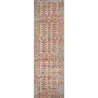 Machine Made Emmetts Rust Polypropylene/ Polyester Rug (2'3 x7'6)
