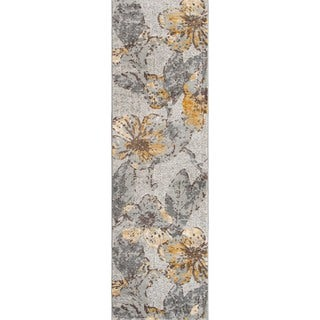 Machine Made Delphinium Grey Polypropylene/ Polyester Rug (2'3 x7'6)