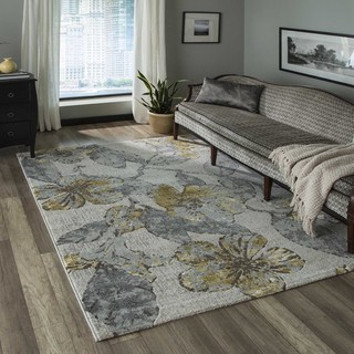 Machine Made Delphinium Grey Polypropylene/ Polyester Rug (7'10 x 9'10)