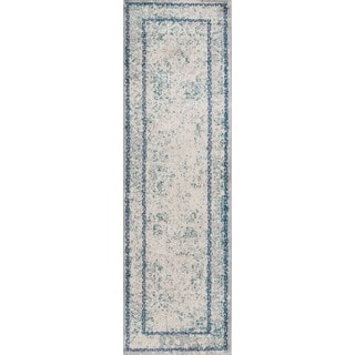 Machine Made Anglesey Blue Polypropylene/ Polyester Rug (2'3 x7'6)