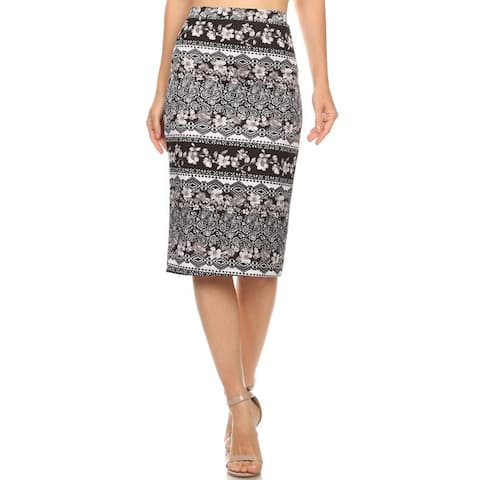 04e2a5e01b7 Moa Collection Women s Black Border Print Polyester Spandex Pencil Skirt