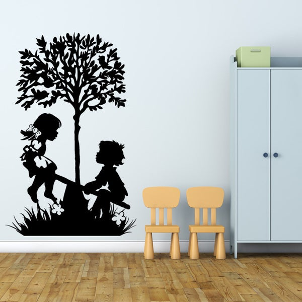 shop style and apply 'playing kids' vinyl wall art decal - on sale