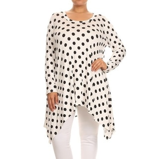Moa Collection Women's Black/White Polyester/Spandex Plus Size Polka Dot Tunic