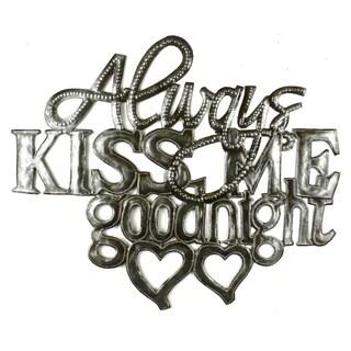 Handcrafted 'Kiss Me Goodnight' Metal Wall Art (Haiti)