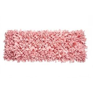 Jersey Cotton Shaggy Hand-woven Light Pink Runner (2' x 6')