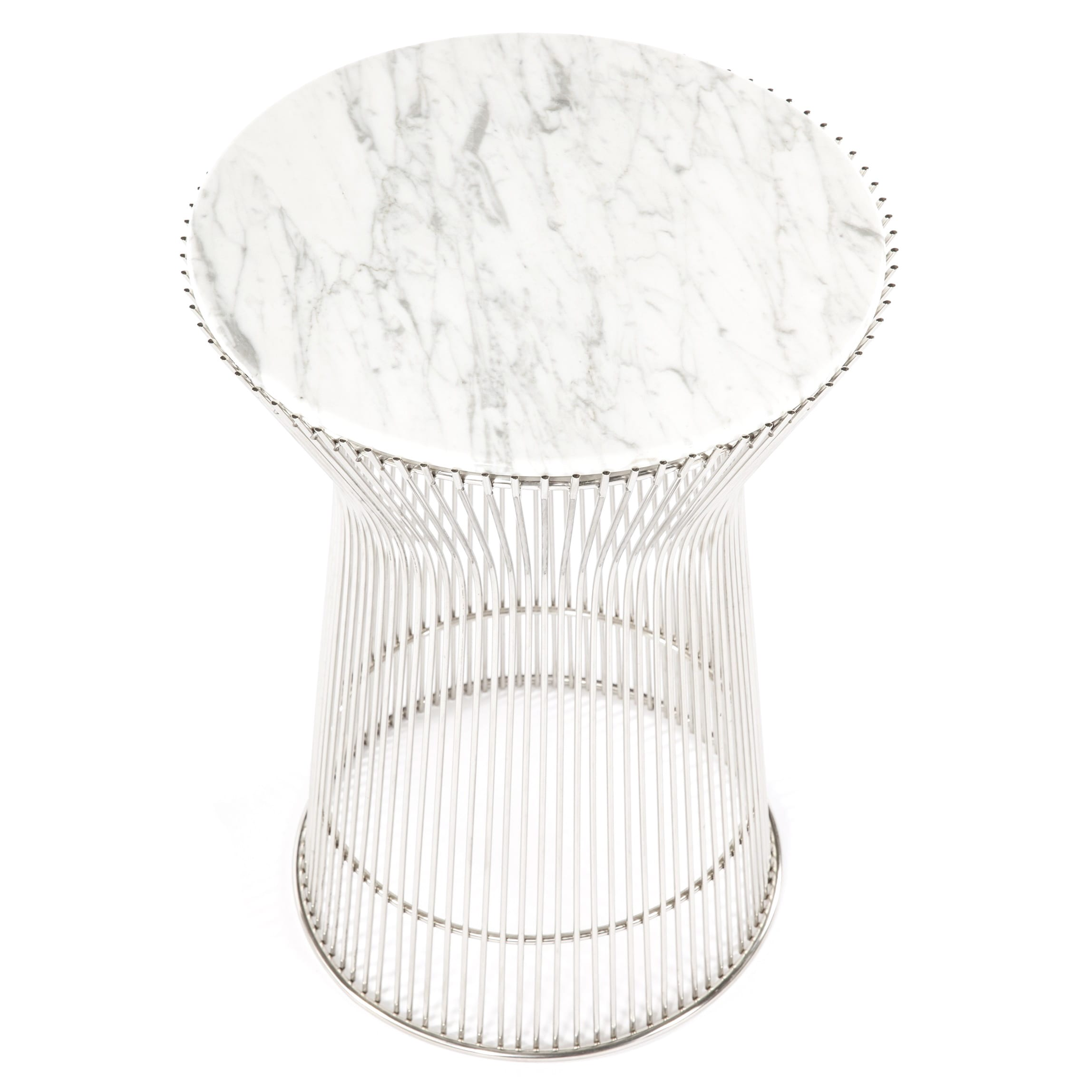 Hans Andersen Home Fishburne Carrera Style Marble-top Side Table (Fishburne Side Table), White