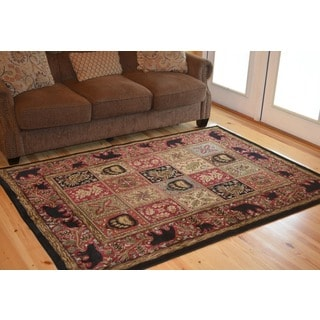 Rustic Lodge Bear Cabin Red Persian-Style Area Rug (5'3 x 7'3)