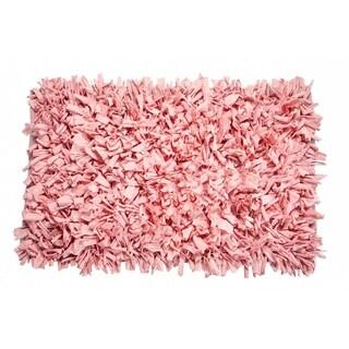 Jersey Shaggy Light Pink Cotton Rug (24 x 36)