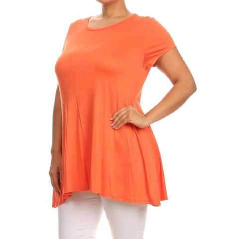 Moa Collection Women's Rayon and Spandex Plus Size Solid Top
