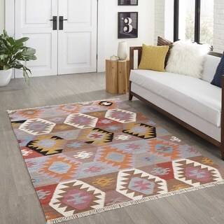 Hand-Woven Tribal Elegance Geometric Multi Wool Rug (2'3 x 8')