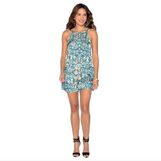 Green Turtle Sara Boo Women's Hot Tropics Printed Polyester Halter Romper