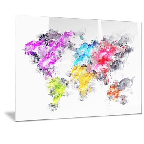 Designart 'Colors of the Rainbow' Map Metal Wall Art