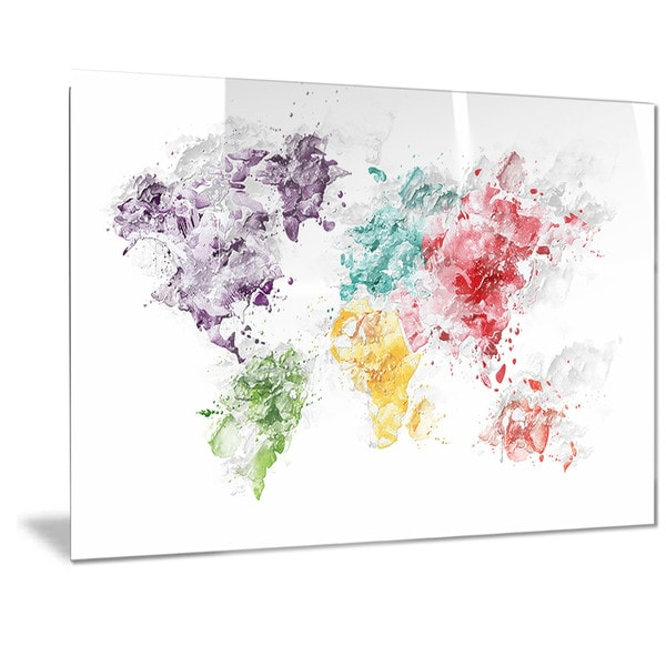 Designart color splash world map metal wall art free shipping designart x27color splash worldx27 map gumiabroncs Gallery