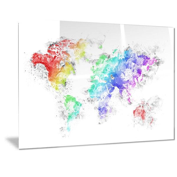 Designart bright world map metal wall art free shipping today designart x27bright worldx27 map gumiabroncs Choice Image