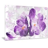 Designart 'Blooming Purple Flower' Floral Metal Wall Art
