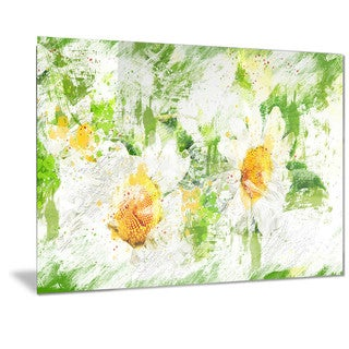 Designart 'Pair of White Flowers' Floral Metal Wall Art