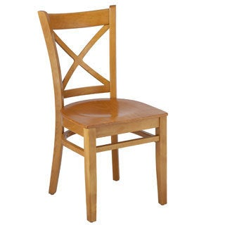 Cross-back Cherry-finish Wood Dining Chairs (Set of 2)