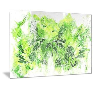 Designart 'Electric Green Flowers' Floral Metal Wall Art