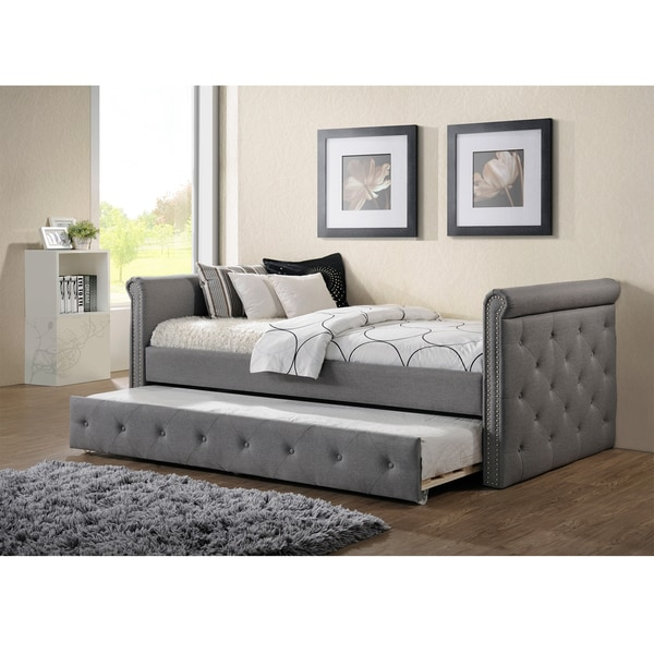 Baxton Studio Aisopos Modern and Contemporary Grey Fabric Tufted Twin Size  Daybed with Roll-out - Baxton Studio Aisopos Modern And Contemporary Grey Fabric Tufted
