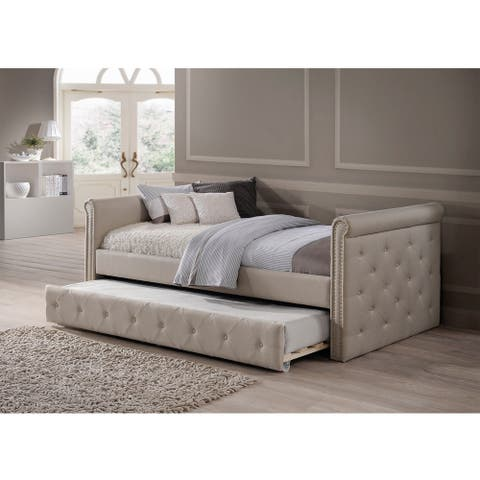 Baxton Studio Aisopos Modern and Contemporary Beige Fabric Tufted Twin Size Daybed with Roll-out Trundle Guest Bed