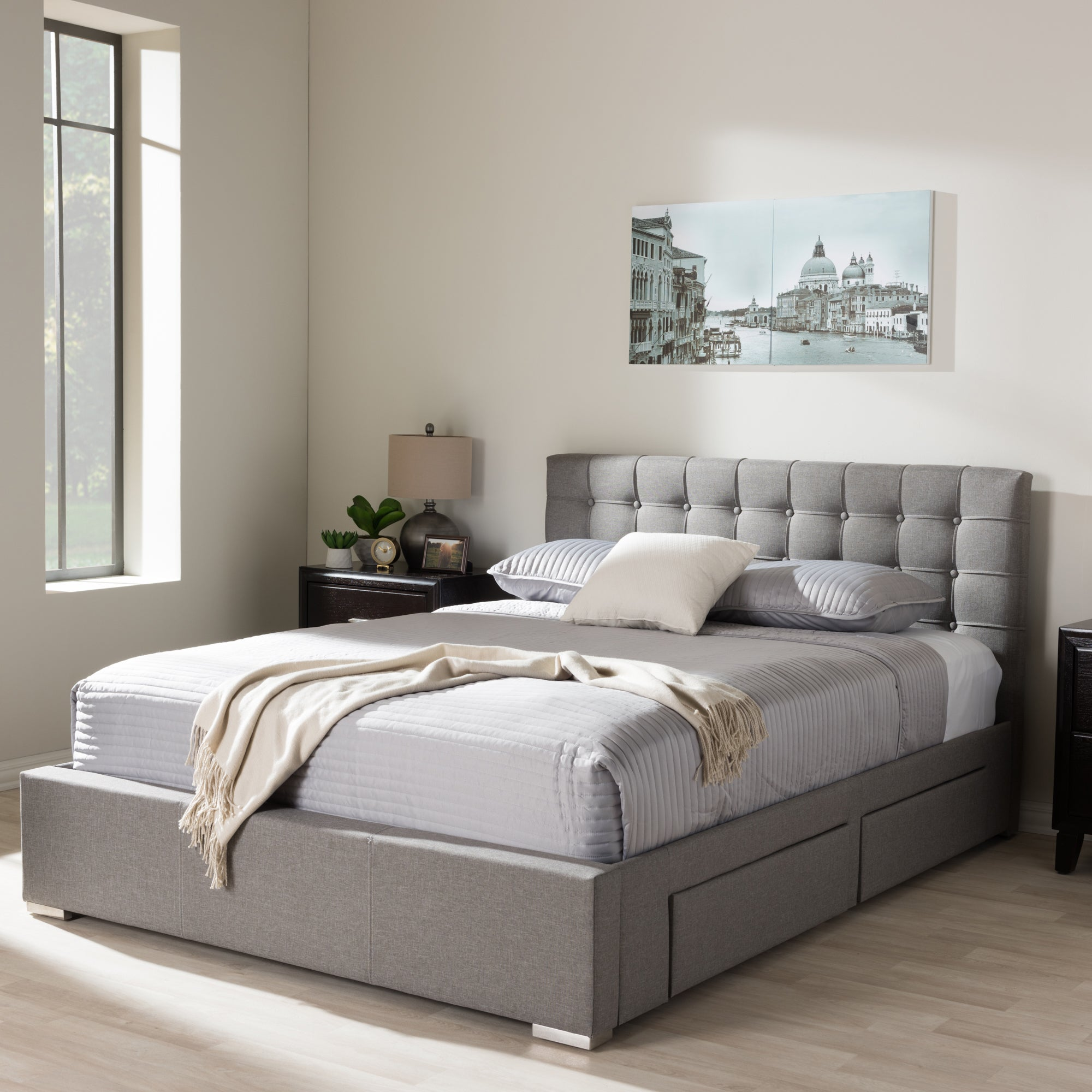 Shop Black Friday Deals On Baxton Studio Adonis Modern And Contemporary Grey Fabric 4 Drawer King Size Storage Platform Bed Overstock 20543701