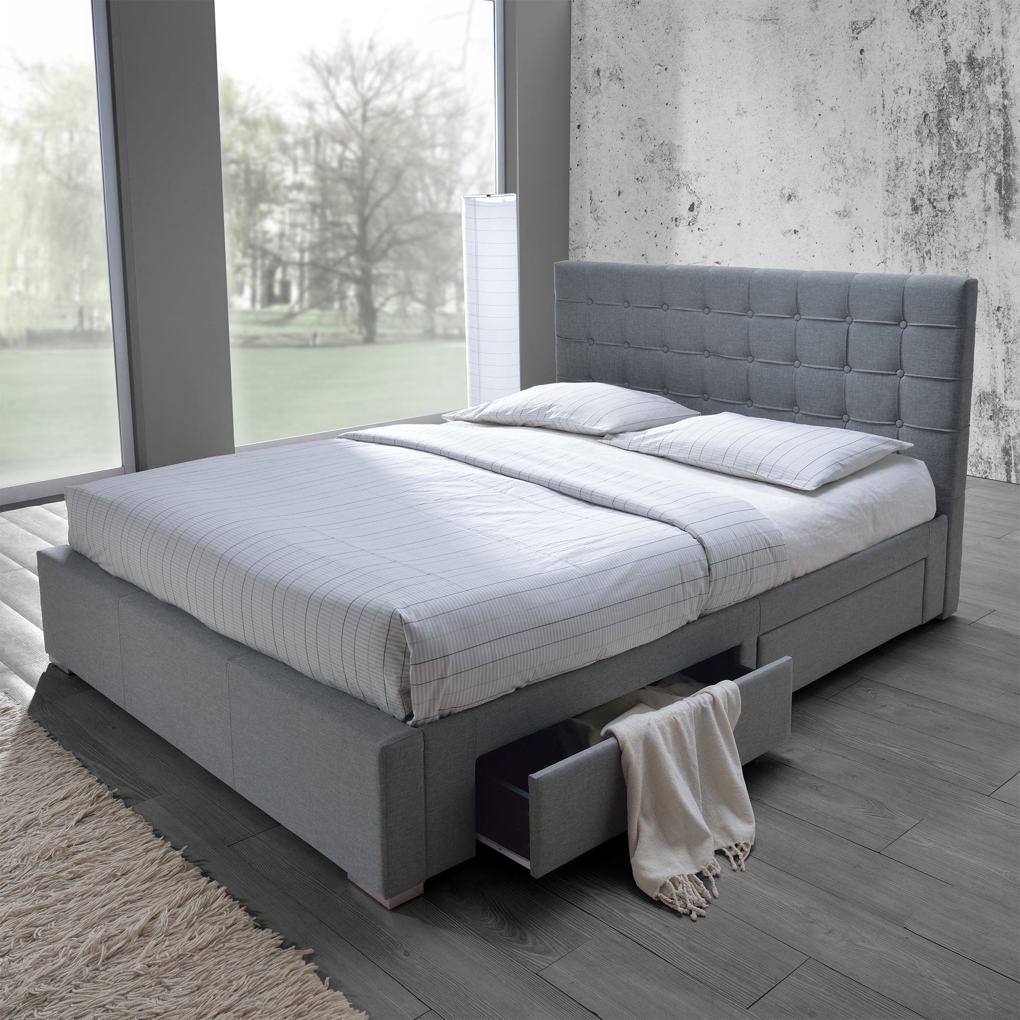 Shop Black Friday Deals On Baxton Studio Adonis Modern And Contemporary Grey Fabric 4 Drawer Queen Size Storage Platform Bed Overstock 20543703