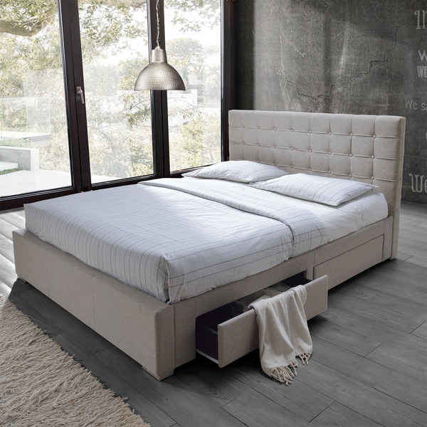 Baxton studio adonis modern and contemporary beige fabric - Modern queen bed with storage ...