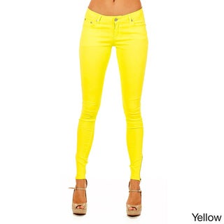 Dinamit Cotton and Lycra Skinny-fit Side Zipper Colored Pants