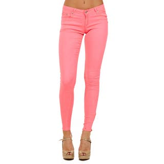 Dinamit Cotton and Lycra Skinny-fit Side Zipper Colored Pants|https://ak1.ostkcdn.com/images/products/11866990/P18766002.jpg?impolicy=medium