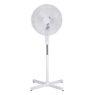 White 3-Speed 16-inch Oscillating High Velocity Adjustable Height Standing Floor Fan