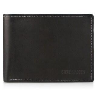 Steve Madden Men's Genuine Leather Bifold Passcase Wallet