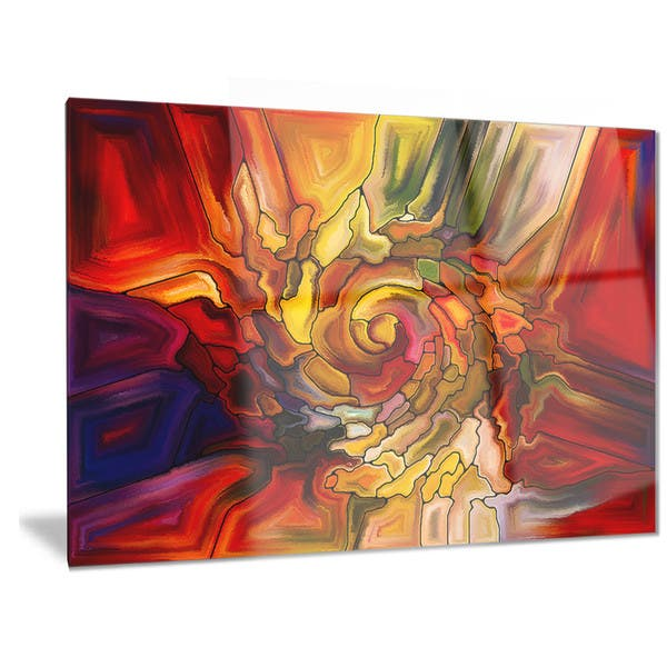 Designart Illusions Of Stained Glass Abstract Metal Wall Art