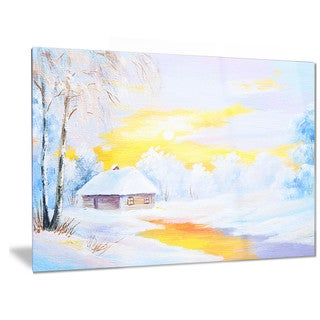 Designart 'Frozen River in Winter' Landscape Metal Wall Art