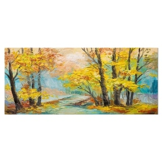 Designart 'Yellow Falling Forest' Landscape Metal Wall Art