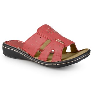Journee Collection Women's 'Madge' Casual Embroidered Faux Leather Sandals