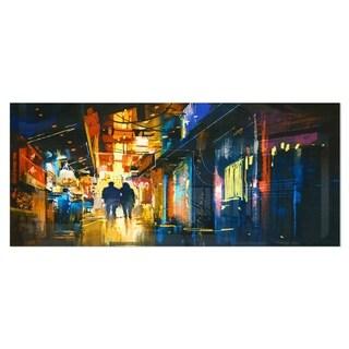 Designart 'Couple Walking in an Alley' Cityscape Metal Wall Art