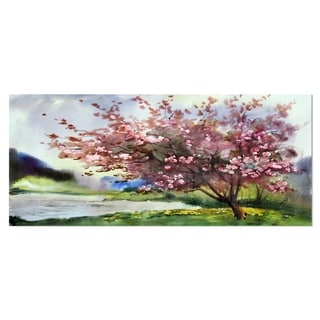 Designart 'Tree with Spring Flowers' Floral Metal Wall Art