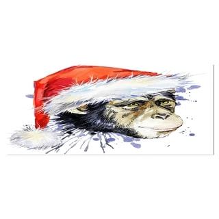 Designart 'Monkey Santa Clause' Animal Metal Wall Art