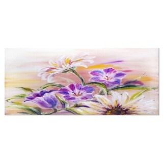 Designart 'Purple Wildflowers' Floral Metal Wall Art