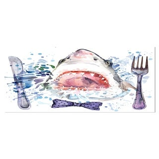 Designart 'Hungry Shark Illustration' Animal Metal Wall Art