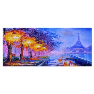 Designart 'Eiffel from a Distance' Landscape Metal Wall Art