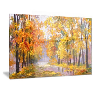 Designart 'Full of Fallen Leaves' Landscape Metal Wall Art