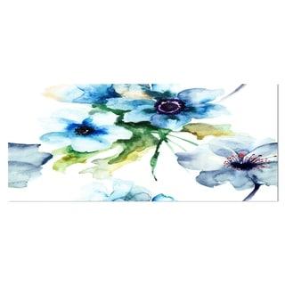 Designart 'Seamless Summer Blue Flowers' Floral Metal Wall Art