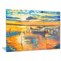 Designart 'Boat and Jetty at Sunset' Landscape Metal Wall Art