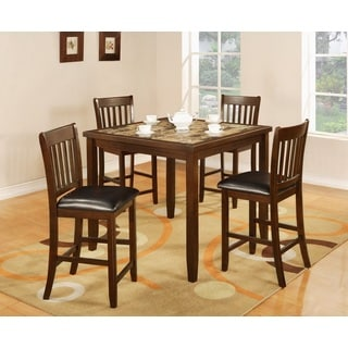 Zoho Dark Cappuccino Finish Wood Aritifical Marble Top Counter Height 5-piece Dining Set